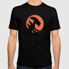 alien on a chopper Mens Fitted Tee Black X-LARGE