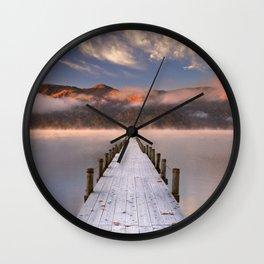 II - Jetty in Lake Chuzenji, Japan at sunrise in autumn Wall Clock