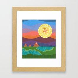 Sunset Mountains Framed Art Print