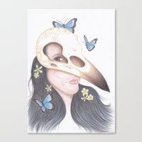 crow Canvas Prints featuring Crow by Drawings by LAM