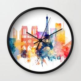 Paris Watercolor skyline Wall Clock