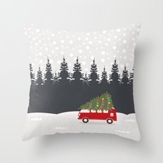 Driving Home for Christmas Throw Pillow
