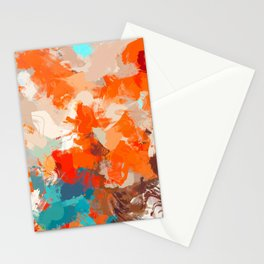 Pleasure, Abstract Brush Strokes Summer Painting, Pop of Color Bright Stationery Cards