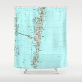 Seaside Park & NJ Shore Map (1989) Shower Curtain
