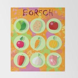 Borsch. Russian traditional dish. Throw Blanket