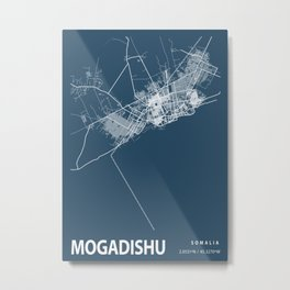 Mogadishu Blueprint Street Map, Mogadishu Colour Map Prints Metal Print