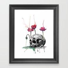Skull and Poppies Framed Art Print
