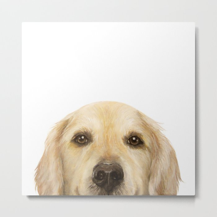Golden retriever Dog illustration original painting print Metal Print