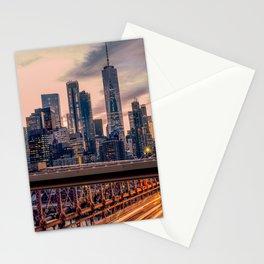 Traffic over the Brooklyn Bridge, New York City Stationery Cards