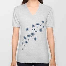 Wispy Blue Dandelion Seeds Blowing in the Breeze Unisex V-Neck