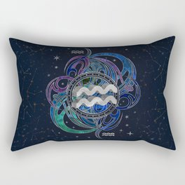 Aquarius Zodiac Sign Air Element Rectangular Pillow