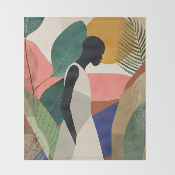 Tropical Girl Throw Blanket