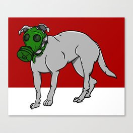 Dog Wearing A Gas Mask Canvas Print