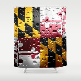 Flag of Maryland - Raindrops Shower Curtain