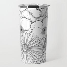 Flower Bouquet Black and White Illustration Travel Mug