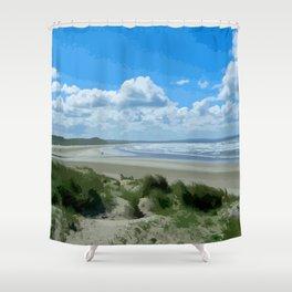 Enniscrone Sandy Beach Ireland Painted Photograph Shower Curtain