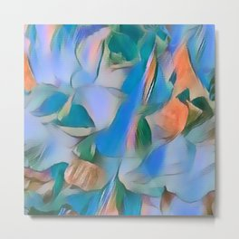 Heavenly Rose Petals Abstract - Blue Metal Print