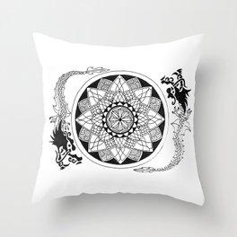 The dragon lotus Throw Pillow