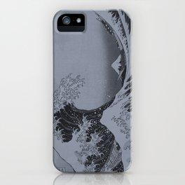 Silver Japanese Great Wave off Kanagawa by Hokusai iPhone Case