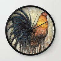 rooster Wall Clocks featuring Rooster by Villarreal