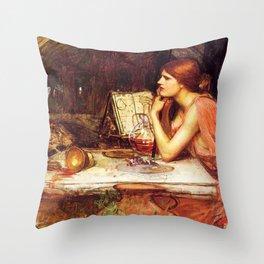 John Waterhouse Sketch Of Circe 1911 Goddess Of Magic Sorceress Witch Throw Pillow