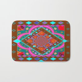 Coffee Brown Turquoise Geometric Wester StyleAbstract Bath Mat