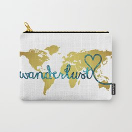 Wanderlust Gold Foil Map with Teal Glitter Text Carry-All Pouch