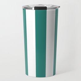 Celadon green - solid color - white vertical lines pattern Travel Mug
