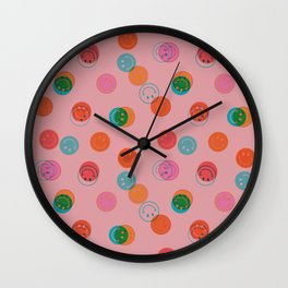 Smiley Face Stamp Print in Pink Wall Clock