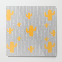 Mustard Cactus White Poka Dots in Gray Background Pattern Metal Print