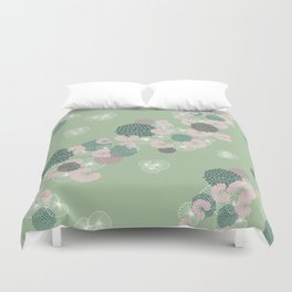 Floral Seamless Pattern on Green Duvet Cover