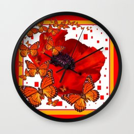 Decorative Red-Gold Monarch Butterflies Red Popppy Wall Clock