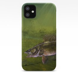 Walleye, the Chase (walleye fishing art) iPhone Case