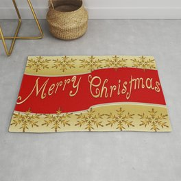 Red Merry Christmas Banner On Gold With Snowflakes  Rug