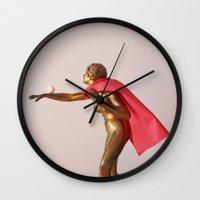 super hero Wall Clocks featuring super hero by bmkoc