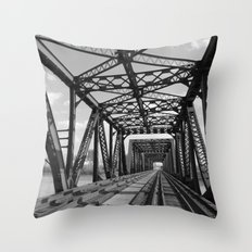 Train Bridge 3 - B&W Throw Pillow