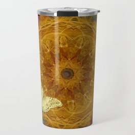 Magical fire mandala and gold butterfly Travel Mug