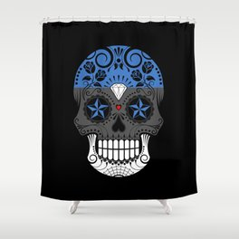 Sugar Skull with Roses and Flag of Estonia Shower Curtain