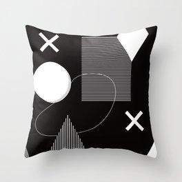 Black and white Memphis stye - abstract geometric pattern Throw Pillow