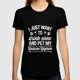 Rhodesian Ridgeback Shirt Funny Wine Dog Owner Gift T-shirt