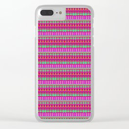 Aztec Tribal Motif Pattern in Pink, Lime and Fuchsia Clear iPhone Case