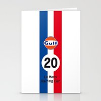 steve mcqueen Stationery Cards featuring Steve McQueen - Le Mans - Racing Car by CHR Design Posters