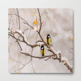 Lovely Songbirds on a Snowy Branch #decor #buyart #society6 Metal Print