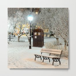 TARDIS in SNOW Metal Print