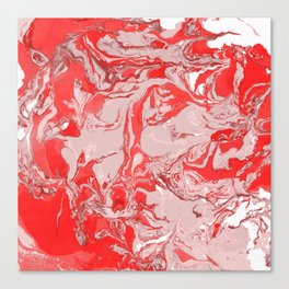 Red and white Marble texture acrylic Liquid paint art Canvas Print