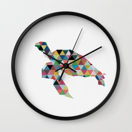 Colorful Geometric Turtle Wall Clock
