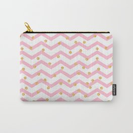 Trendy girly pink gold chevron zigzag polka dots Carry-All Pouch