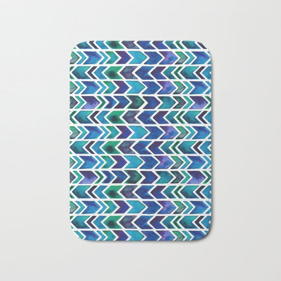 Turquoise and Green Aztec Pattern. Bath Mat