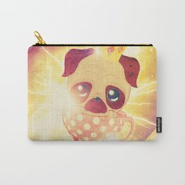 Kawaii pug flying in a cup lightings and starry texture Carry-All Pouch