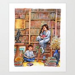 Grandma's Library Watercolor Illustration Art Print